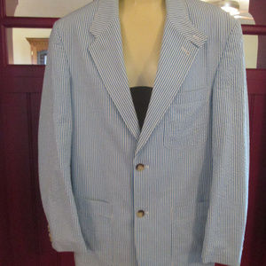 MICHAEL KORS 40R blue/white pinstriped mens jacket